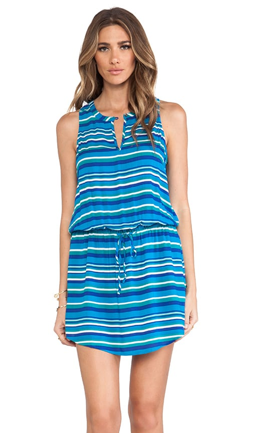Playa Stripe Rayon Split Neck Tank Dress
