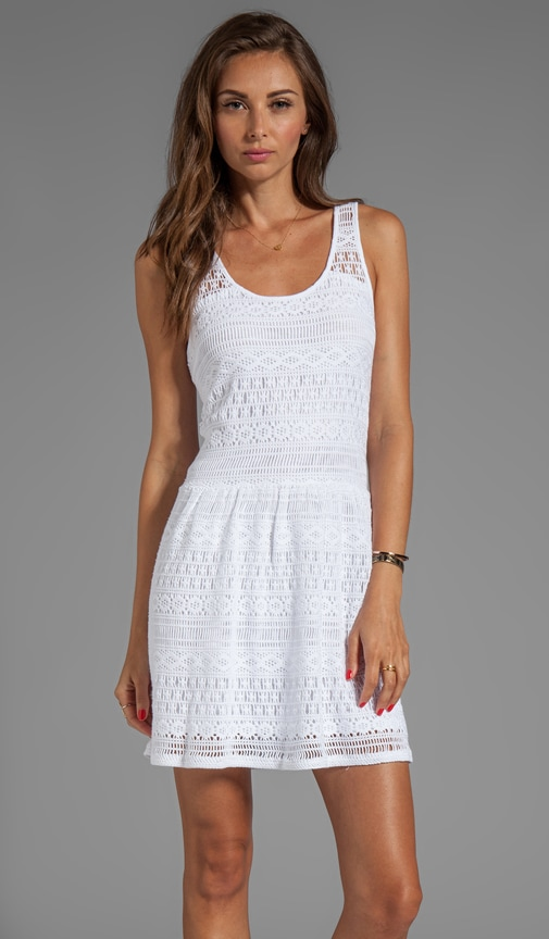 Crochet Lace/Slub Jersey Mix Crochet Flare Tank Dress