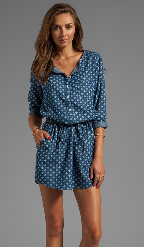 Geo printed Chambray 3/4 Sleeve Henley Dress