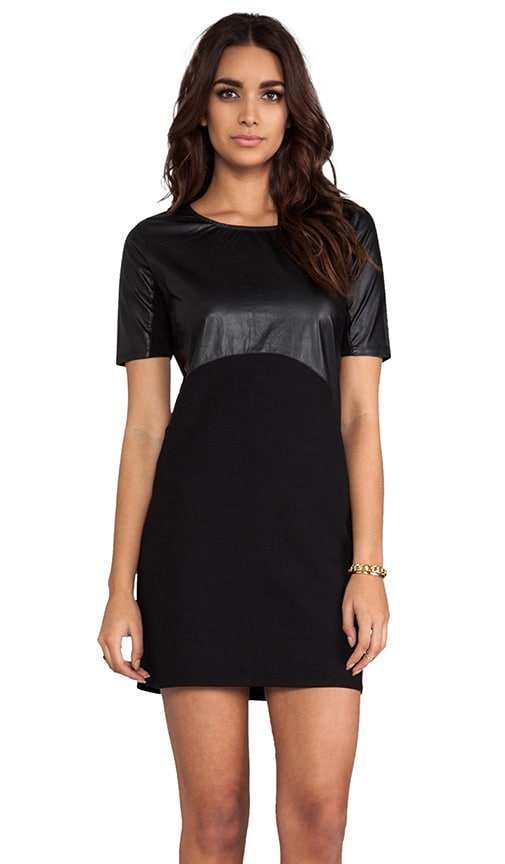 Ponte/Light Weight Faux Leather Mix Elbow Sleeve Dress
