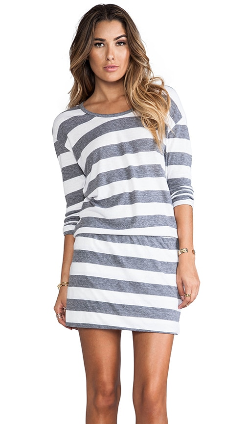 Long Sleeve Striped Blouson Dress