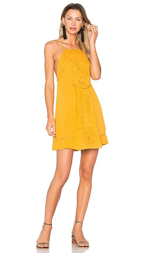 C&C California Dahna Strappy Embroidered Dress in Mustard