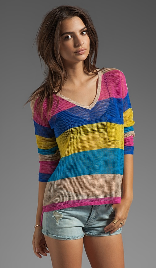 Linen Cotton Mesh Stripe Long Sleeve V-Neck Box Tee
