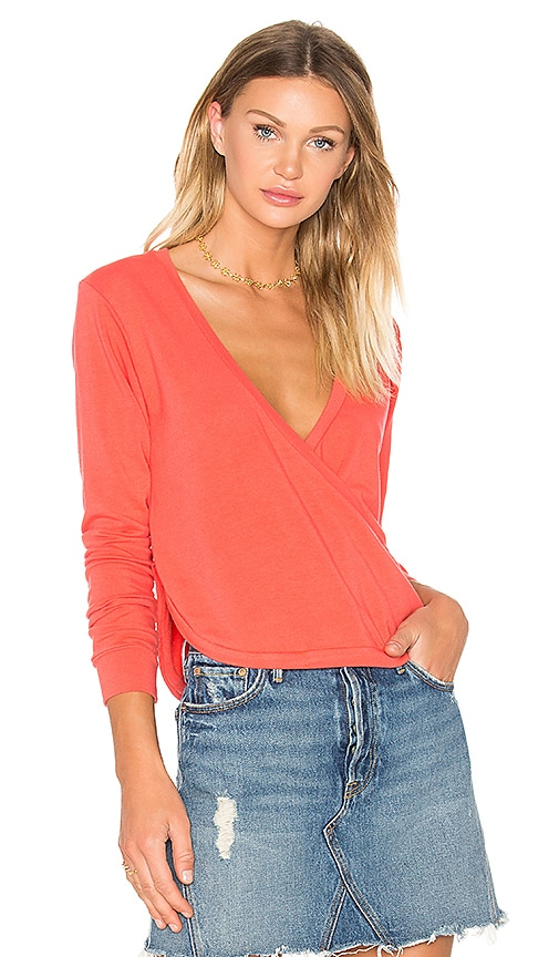 C&C California Alissa Wrap Pullover in Coral