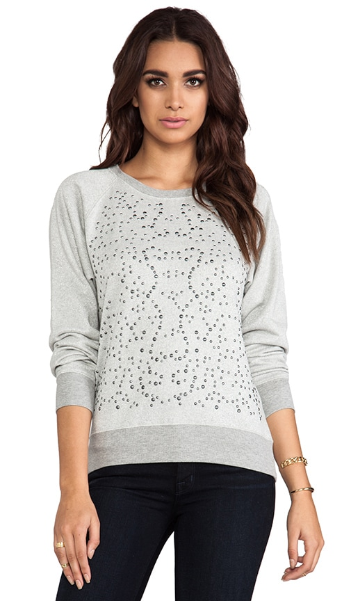Lurex French Terry Long Sleeve Embellished Sweatshirt