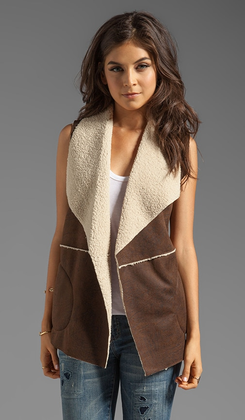 Distressed Faux Shearling Vest