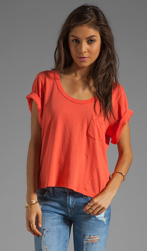 Drape Sleeve Cut-Out Back Box Tee