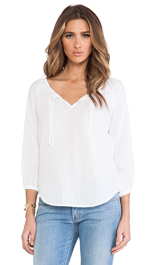 Textured Cotton 3/4 Sleeve Peasant Top With Lace Blouse