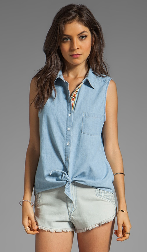 Chambray Sleeveless Tie-Front Shirt