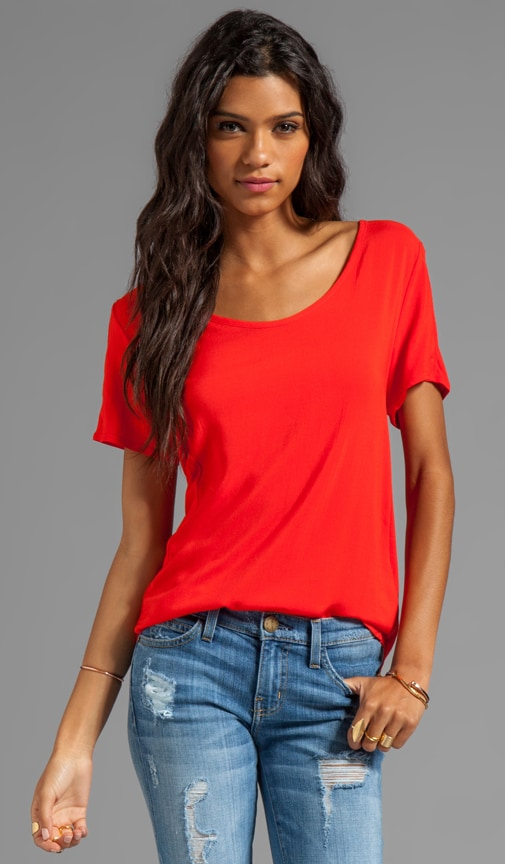 Woven/Knit Mix Short Sleeve Shirt Tail Top