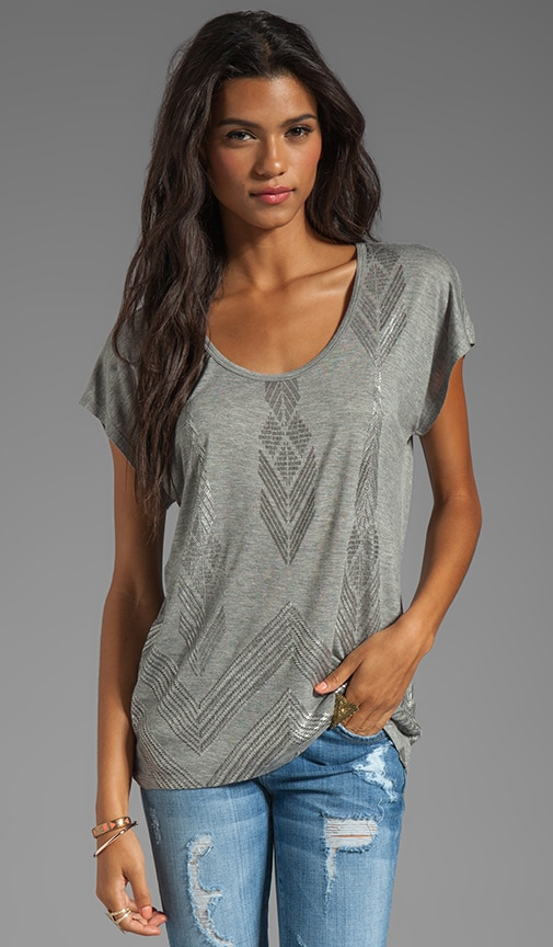 Foil Heather Grey Viscose Jersey Short Sleeve Hi-Lo Dolman Top