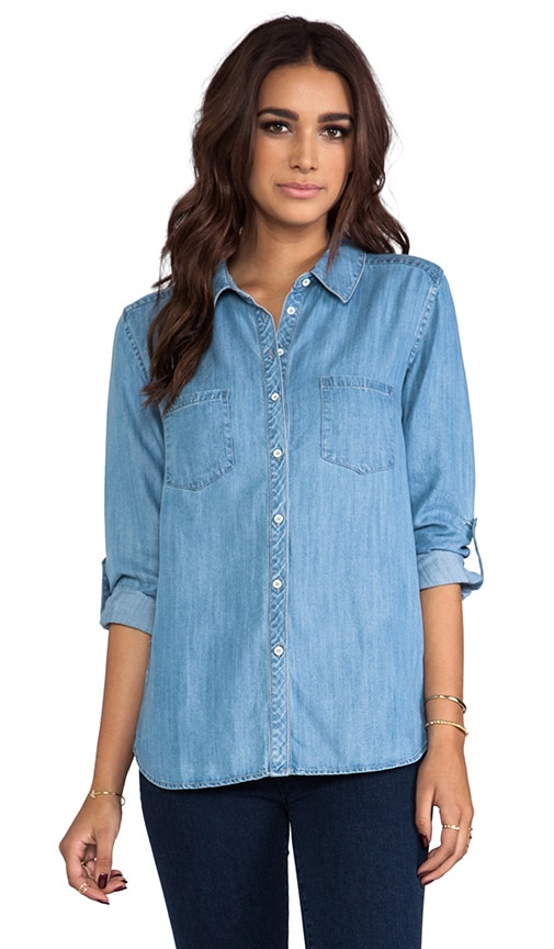 Textured Chambray Two Pocket Shirt