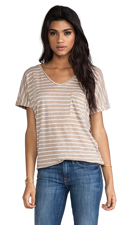Roll Sleeve V Neck Tee