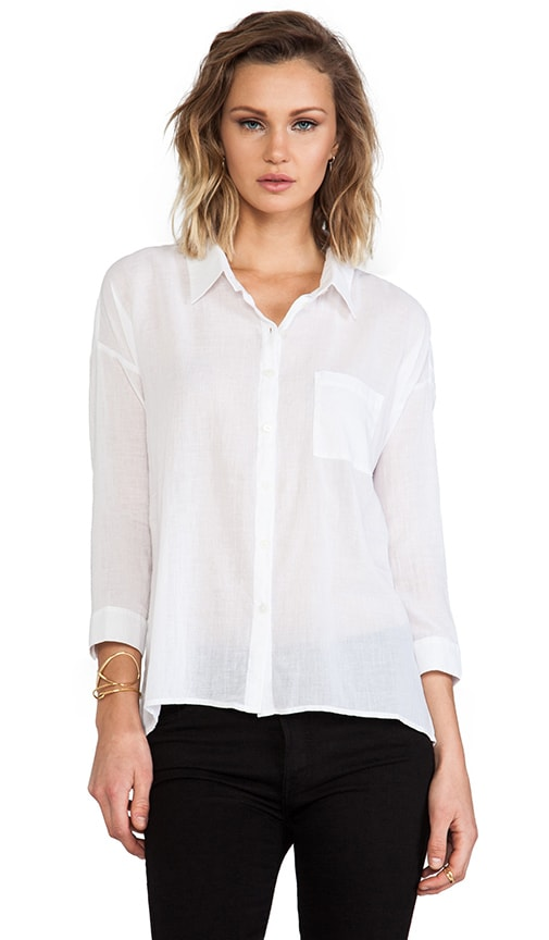3/4 Sleeve Voile Button Down