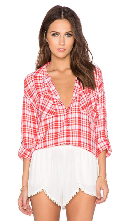 C&C California Two Pocket Plaid Top in Poppy Red
