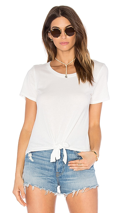 C&C California Mandy Tie Front Tee in White