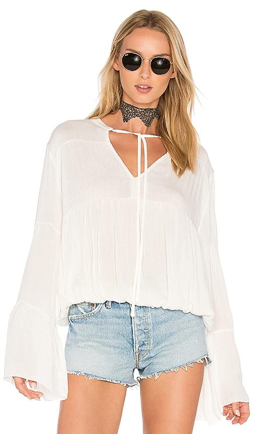 C&C California Bijoux Shirred Blouse in White