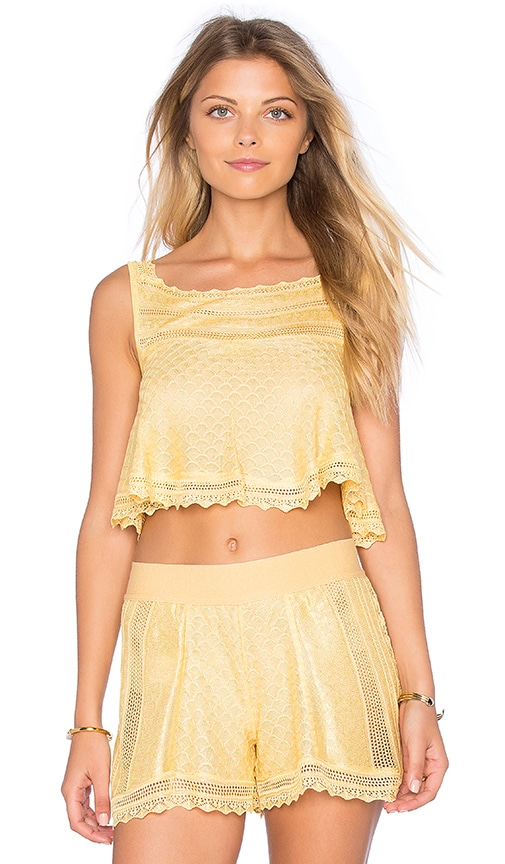 Cecilia Prado Josefa Crochet Crop Top in Yellow