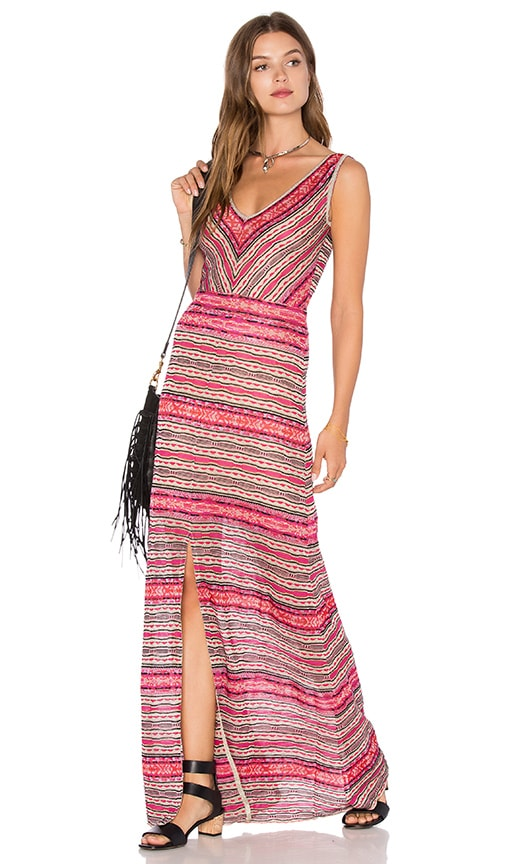 Cecilia Prado Deep V Maxi Dress in Pink