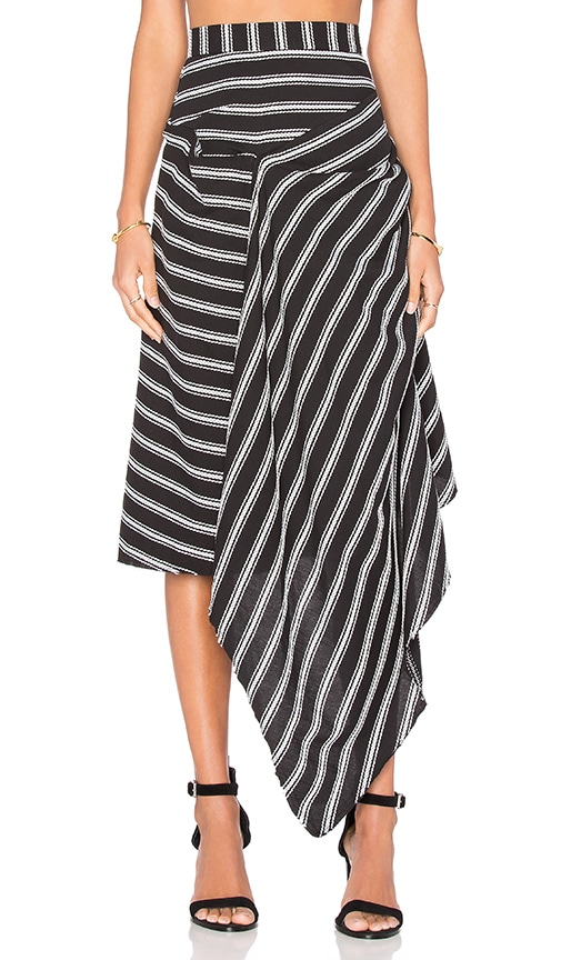 Acler Avril Stripe Skirt in Black & White