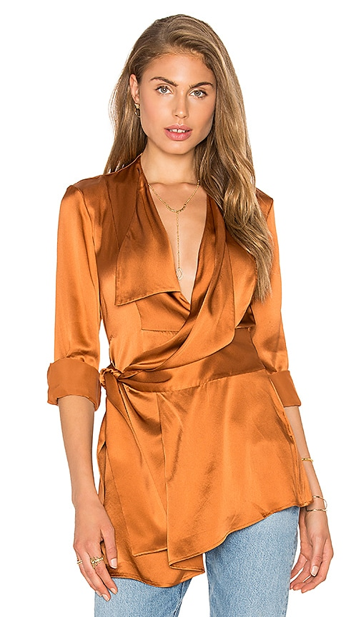 Acler Bennet Silk Shirt in Burnt Orange