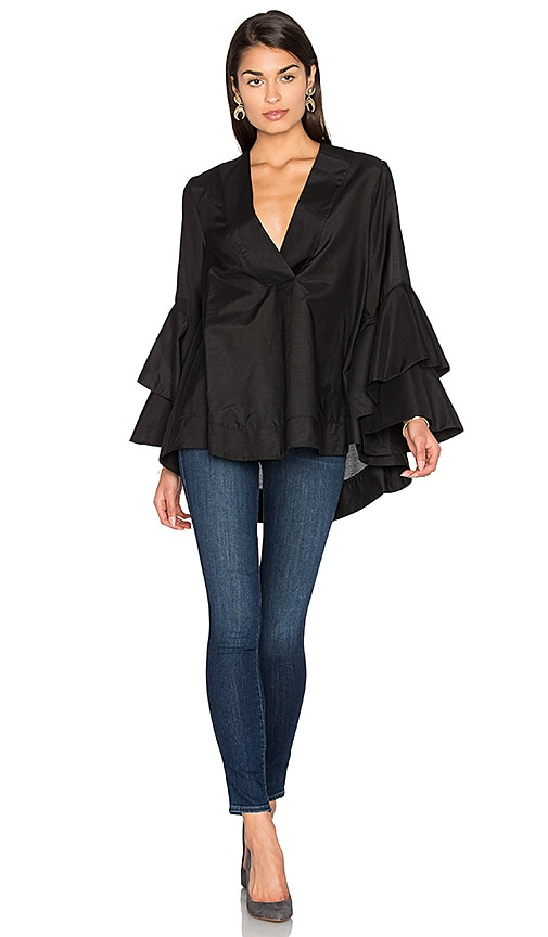 Acler Foley Silk Blend Top in Black
