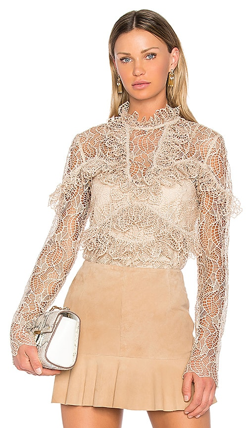 Acler Elan Lace Blouse in Tan