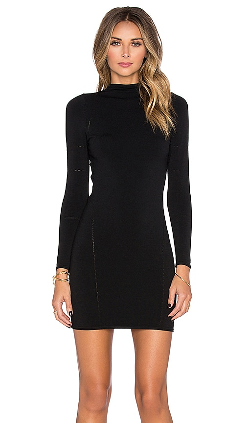 Central Park West Fresno Long Sleeve Mini Dress in Black