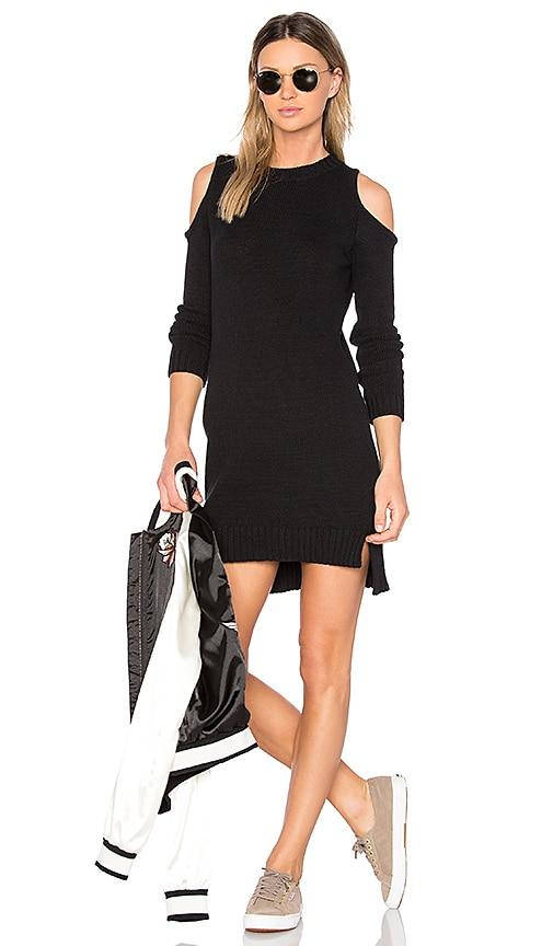 Central Park West Asheville Cold Shoulder Sweater Dress in Black