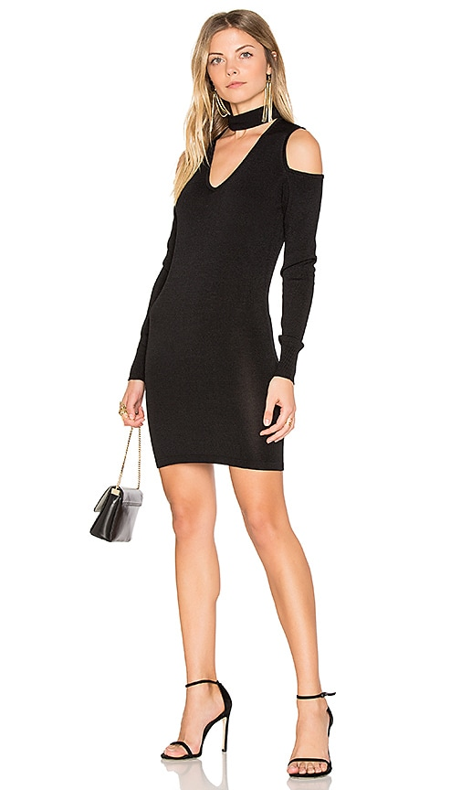 Central Park West Atlantis Cold Shoulder Sweater Dress in Black