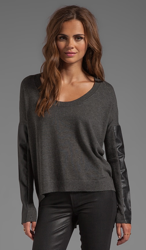 Sewanee Vegan Leather Sleeve Sweater