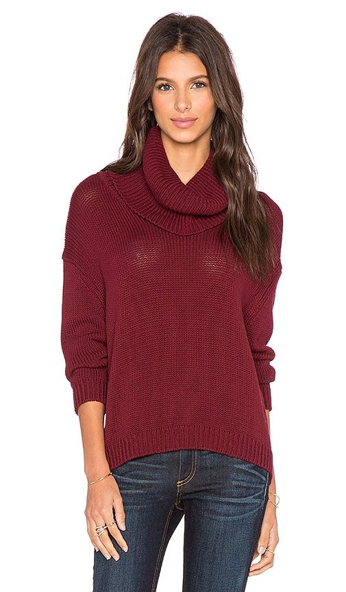Central Park West Quito Turtleneck Sweater in Burgundy