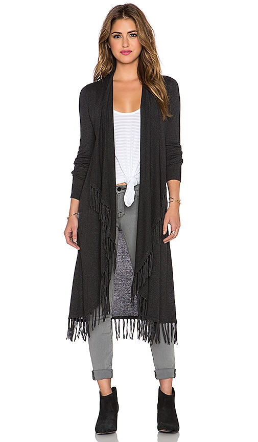 Central Park West Jackson Hole Fringe Cardigan in Charcoal