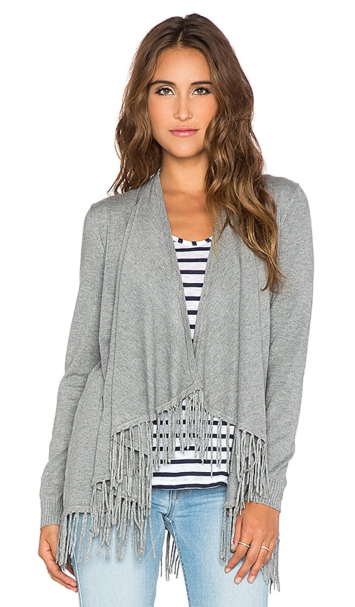 Central Park West Patagonia Fringe Cardigan in Heather Grey