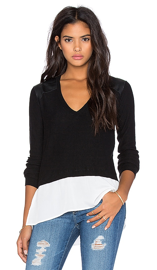 Central Park West Banff Layered Sweater in Black