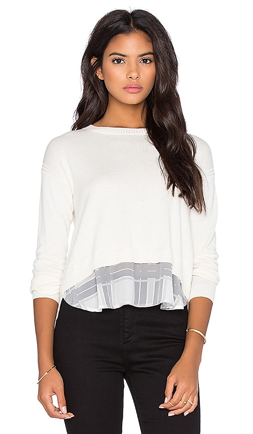 Central Park West Cambridge Layered Sweater in Ivory & Grey Plaid