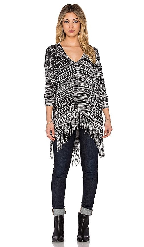 Central Park West Lawrence V Neck Fringe Sweater in Marled Black