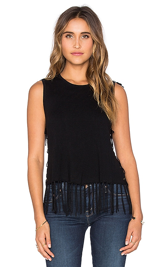 Central Park West Brown Fringe Sleeveless Sweater in Black