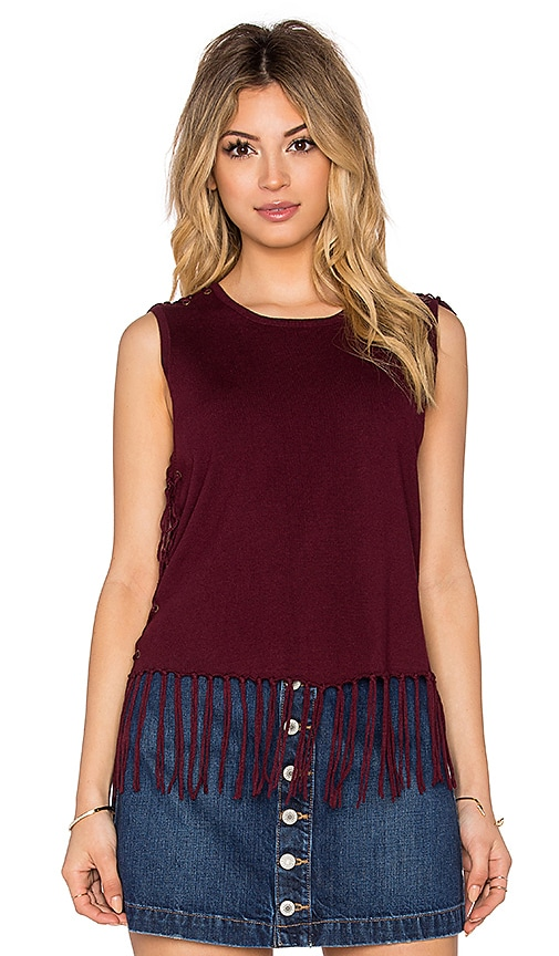 Central Park West Brown Fringe Sleeveless Sweater in Burgundy