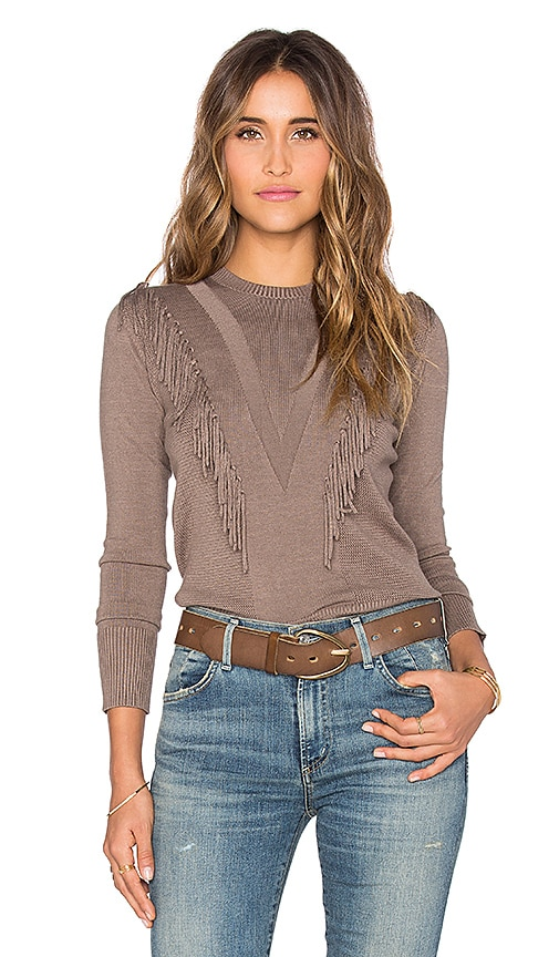 Central Park West Brown Fringe Crew Neck Sweater in Toast