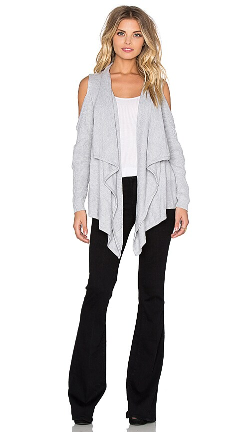 Central Park West Jones Drape Front Cut Out Cardigan in Grey