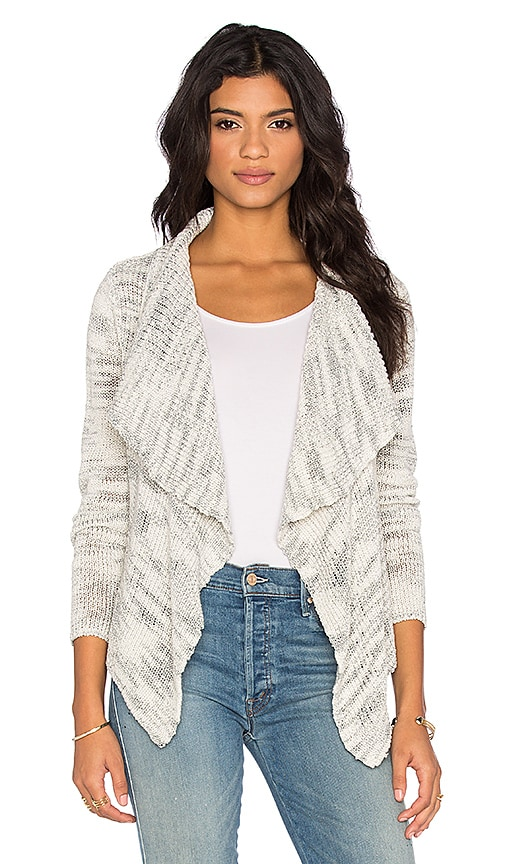 Central Park West Oahu Drape Front Cardigan in Grey Marled