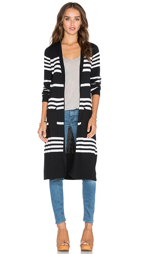 Central Park West Dubrovnik Stripe Cardigan in Black