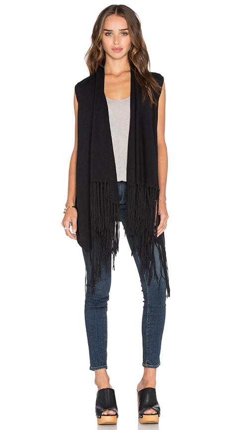 Central Park West Auckland Sleeveless Fringe Vest in Black
