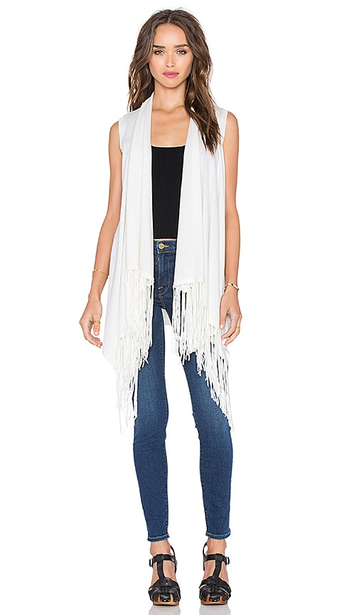 Central Park West Auckland Sleeveless Fringe Vest in Ivory