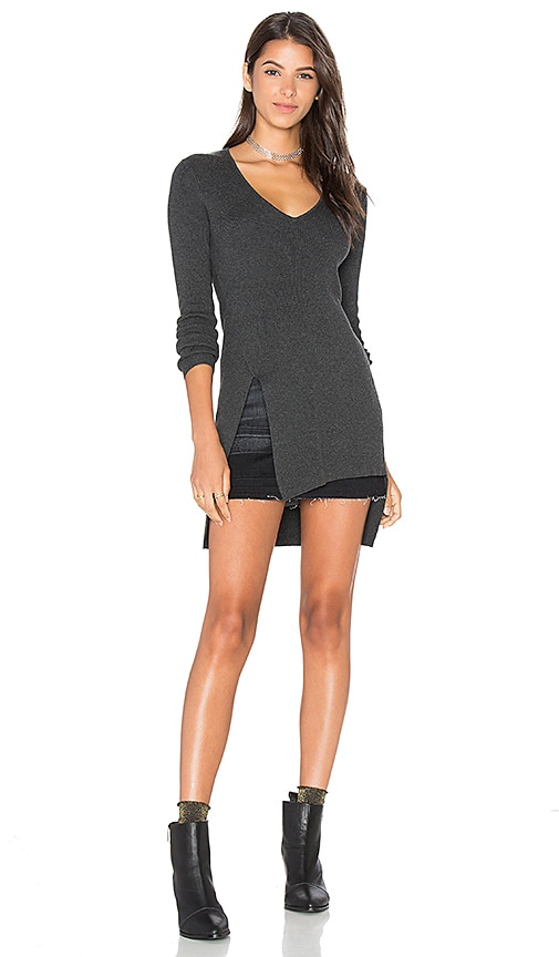 Central Park West Lucerne V Neck Sweater in Charcoal