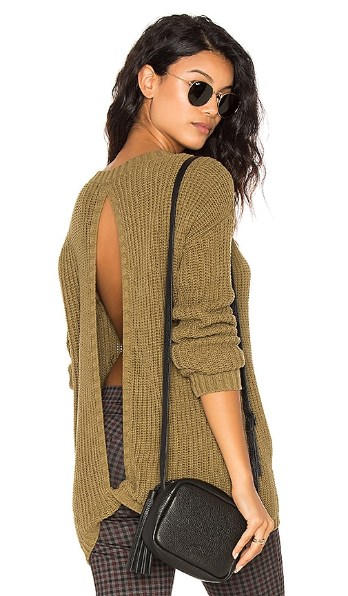 Central Park West Hampton Open Back Sweater in Olive