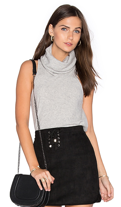 Central Park West Vienna Cashmere Sleeveless Sweater in Light Gray