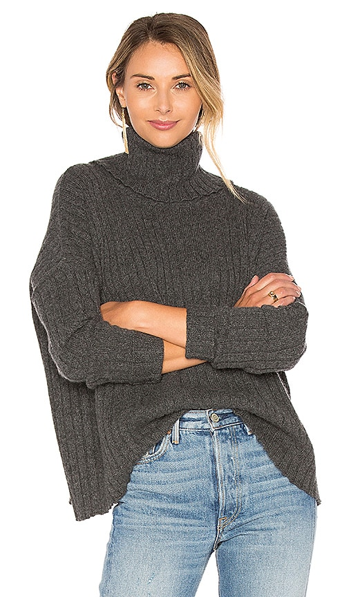 Central Park West Salzburg Turtleneck Sweater in Grey