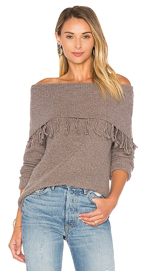 Central Park West Palermo Off Shoulder Fringe Sweater in Brown